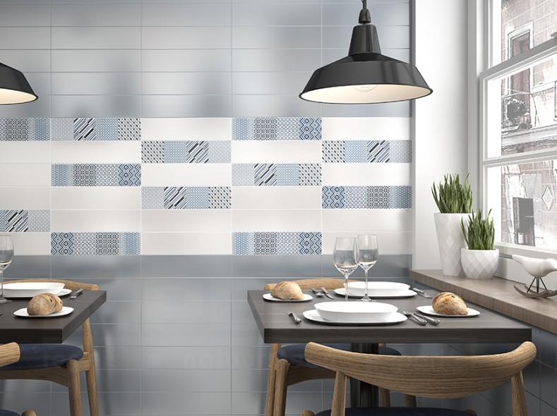 carrelage mur, impermo, carrelage céramique, carrelage motif, style retro, carrelage retro, cuisine rétro, lampe de cuisine, table de cuisine bois, chaise de cuisine