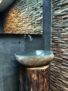houtstrips, mozaïek, bruin, houtlook, teak, muurbekleding, schouw